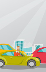 Angry caucasian man in a car stuck in a traffic jam. Irritated young hipster man driving a car in a traffic jam. Agressive driver honking in a traffic jam. Vector cartoon illustration. Vertical layout