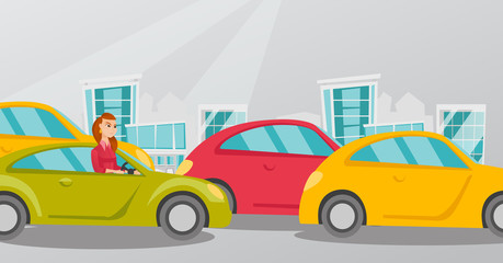 Angry caucasian woman in a car stuck in a traffic jam. Irritated young woman driving a car in a traffic jam. Agressive driver honking in a traffic jam. Vector cartoon illustration. Horizontal layout.