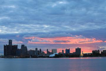 Sunset over Detroit Skyline from Belle Isle