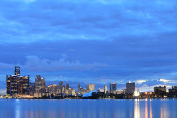 Detroit Skyline from Belle Isle at night