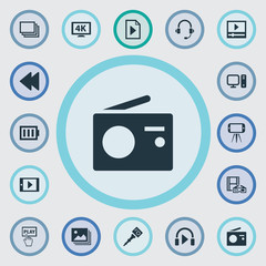 Vector Illustration Set Of Simple  Icons. Elements Charge, Music Listening, PC And Other Synonyms Personal, Earmuff And Charge.