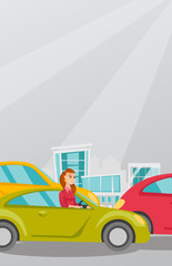 Angry caucasian woman in a car stuck in a traffic jam. Irritated young woman driving a car in a traffic jam. Agressive driver honking in a traffic jam. Vector cartoon illustration. Vertical layout.
