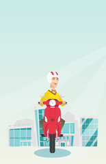 Young caucasian man riding a scooter on a city background. Cheerful man in helmet driving a scooter in the city street. Smiling man driving a scooter. Vector cartoon illustration. Vertical layout.