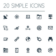 Vector Illustration Set Of Simple Web Icons. Elements Loading, Communication, Network Sharing And Other Synonyms Envelope, Search And Spreading.