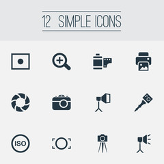 Vector Illustration Set Of Simple Photograph Icons. Elements Flame Instrument, Photo Tape, Light Level And Other Synonyms Image, Augment And Copier.