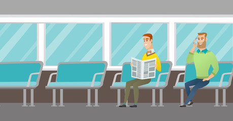 Caucasian people traveling by public transport. Man using mobile phone while traveling by public transport. Man reading newspaper in public transport. Vector cartoon illustration. Horizontal layout.
