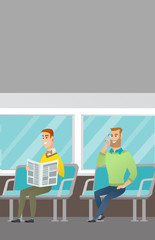 Caucasian men traveling by public transport. Man using mobile phone while traveling by public transport. Young man reading newspaper in public transport. Vector cartoon illustration. Vertical layout.