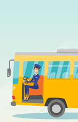 Young caucasian bus driver sitting at steering wheel. Female bus driver driving a passenger bus. Smiling bus driver sitting in the driver cab. Vector cartoon illustration. Vertical layout.