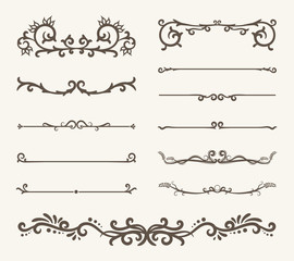 Vector set of decorative elements,  frame and line vintage style