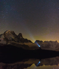 Shining at the stars near Chamonix, France.