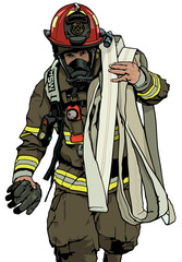 Firefighter With Fire Hose Over Shoulder - Colored Illustration, Vector