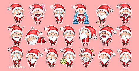Set kit collection sticker emoji emoticon emotion vector isolated illustration happy character sweet cute Santa Claus, Father Frost on pink background for Happy New Year and Merry Christmas