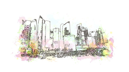 Watercolor sketch of Singapore sand marina bay in vector illustration.