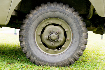 close up of military vehicle wheel