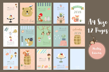 Colorful cute monthly calendar 2018 with whale,tree,monkey,cake,fox,girl and squirrel.Can be used for web,banner,poster,label and printable
