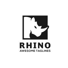 Rhinoceros. Rhino Logo. Business template. Rhinos head logo for sport club or team. Animal mascot logotype. Template. Vector illustration.