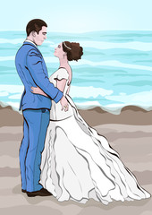 Bride and groom cartoon vector, hand drawing. Couple in love hugging looking at each other, dressed in a wedding dress and a suit against the background of the landscape from the beach and the sea