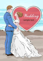 Bride and groom cartoon vector, wedding invitation, card. Couple in love hugging, dressed in a wedding dress and a suit on the background of the beach and the sea, and a heart with space for text