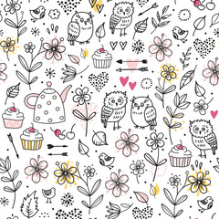 Seamless pattern with owls, flowers, cupcakes, arrows, cherries, hearts. Funny vector illustration. Hand drawn elements.