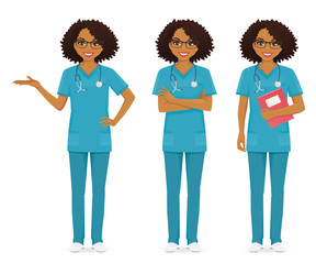 Nurse set black in different poses set vector illustration