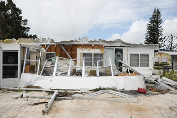 Property damage is seen at a mobile home park after Hurricane Irma in Naples, Florida