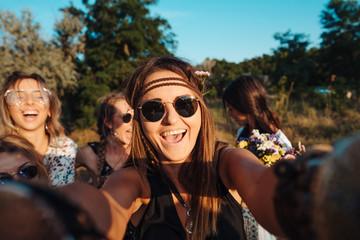 Beautiful girls make selfie