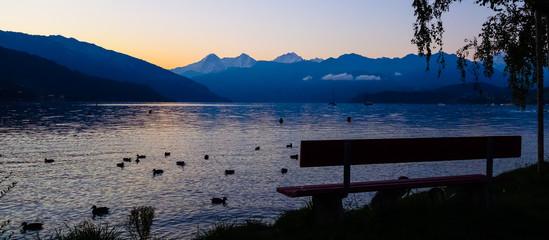 Sun rise at Lake Thun Switzerland
