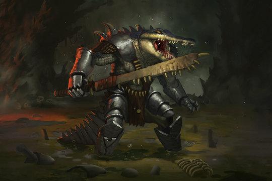 Crocodile warrior in the swamp