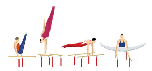 Gymnastics on bars.