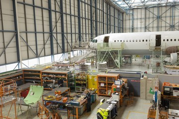 Aircraft maintenance engineer working at airlines maintenance