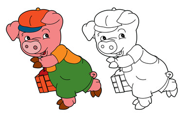 cartoon isolated young pig in work outfit looking / isolated coloring page / illustration for children