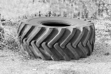 Old, big, heavy, used tire from tractor