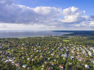 Aerial view of city Tallinn Estonia, distrikt Lasnamjae