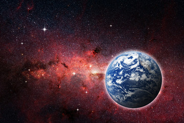 Planet Earth in red galaxy, Elements of this Image Furnished By NASA. Concept science, space, parallel universe.