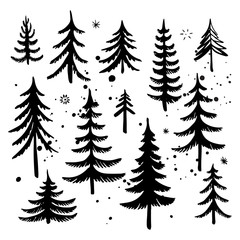 Set of hand drawn Christmas tree. Fir tree silhouettes. Vector illustration.