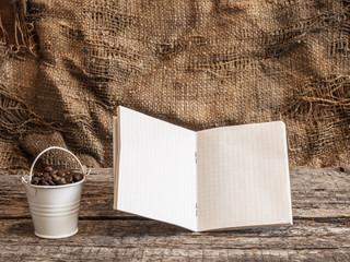 Roasted coffee beans in bucke