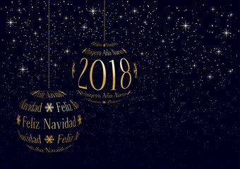 spanish christmas and new year 2018 greeting card with place for your text, christmas balls created from text on snowy sky background