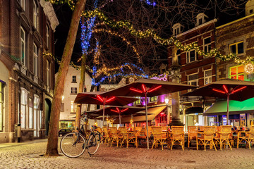 Bars and restaurants with christmas lights in Maastricht