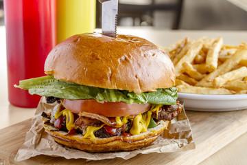 Gourmet Pub Hamburger and Fries