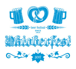 Oktoberfest 2017 blue logo concept design. Beer Festival since 1810. Greeting lettering card. Vector illustration