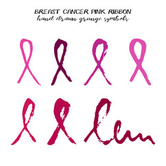 Set of pink ribbons from brush strokes in different colors and strokes on white background. National Breast Cancer Awareness Month. Vector illustration