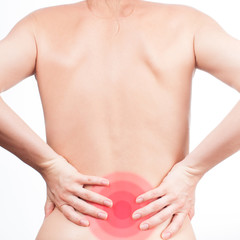 Woman suffering from backache. Pain concept