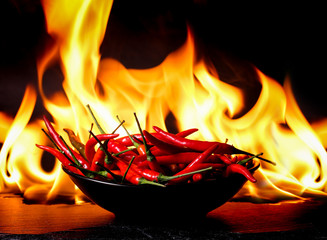 hot chilli on burning fire background