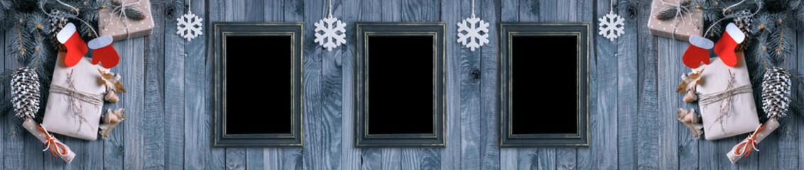 Christmas banner with photo frame and gifts