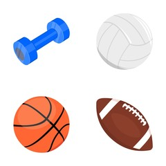Blue dumbbell, white soccer ball, basketball, rugby ball. Sport set collection icons in cartoon style vector symbol stock illustration web.