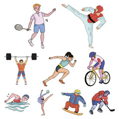 Olympic sports. Winter and summer sports. A set of pictures about athletes.Olympic sports icon in set collection on cartoon style vector symbol stock illustration.