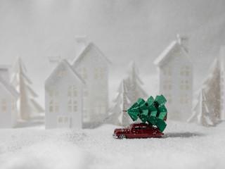 Car Carrying Christmas Tree