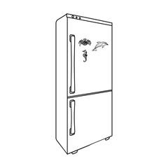 Refrigerator, single icon in outline style.Refrigerator vector symbol stock illustration web.
