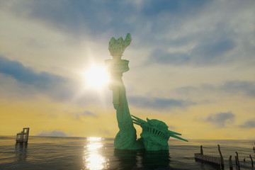 3D Illustration of America the statue of liberty in the water after the flood render