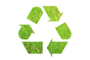 Recycle sign logo made of green grass isolated on white background. Eco concept. Problems of ecology and pollution